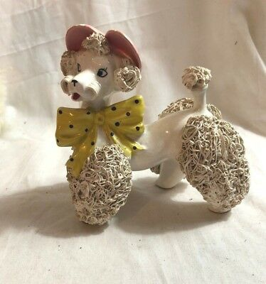 Vintage Spaghetti Poodle Figurine White Dog with Yellow Polka Dot Bow Pink Hat