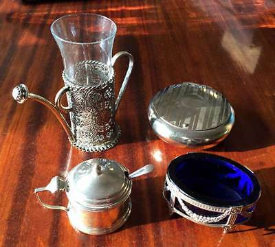 Silver mustard pot and spoon plus three white metal items