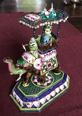 Antique Indian Solid Silver and Enamel Elephant with Canopy
