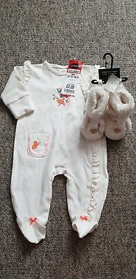 New Baby Girls Next Babygrow & Botties Shoes Set ~ Up To 1 Month & 0-3 Months