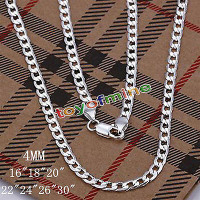 """Wholesale 4Mm Solid 925Sterling Silver Jewelry Chains 16""""-30"""" Necklace Xmas Gift"""