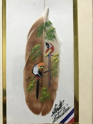 Hand Painted Feather Toucan and Red Macaw Costa Rica Signed