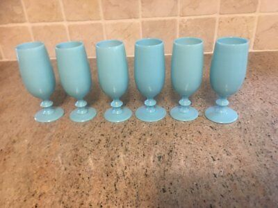 1990s French Portieux Vallerysthal Blue Opaline after dinner drinking glasses 6