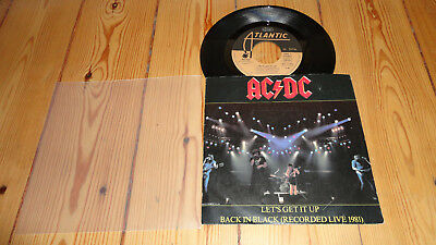 AC/DC Single 7 inch Back in Black live +Lets get it Johnson Malcolm Young Acdc