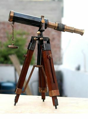 Vintage Hand-Made Two Ton Black Antique Pirate Spyglass Brass Telescope Wd Stand