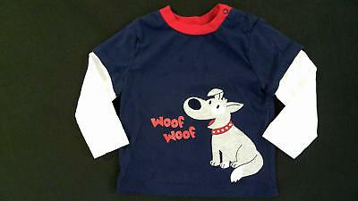 Little Me Woof Woof Unisex Baby size 18 MO Cotton T-shirt Tee Navy Long Sleeve