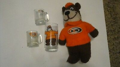 Vintage A&W  Lot Heavy Glass with Bear Small Mugs and Plush