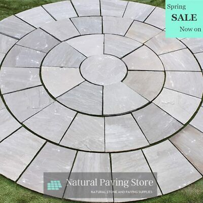 Kandla Grey Sandstone 3m Circle paving slabs flags Handcut patio