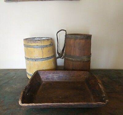 Antique Primitive Early Wood Apple Serving Tray Table Hand Carved Iron Repair