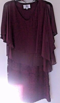 Size 6 Chiffon&lace burgandy Mother of the Bride Dress Knee Length Gown New