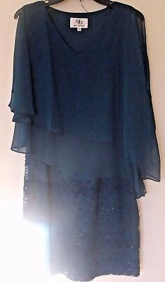 Size 6 Chiffon&lace teal Blue Mother of the Bride Dress Knee Length Gown lace