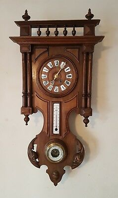 Antique 8 Day Black Forest Weather Station Wall Clock Barometer & Thermometer