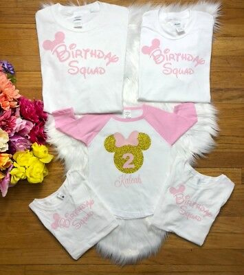 Birthday Squad Or Girl Custom Name Minnie Mouse Party Shirts
