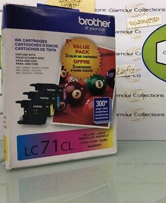 Genuine Brother LC71 C/M/Y Color Ink Cartridges 3/Pack LC713PKS -(BR2)