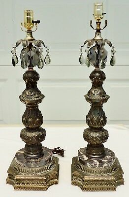 Pair Antique/Vtg Marble Smokey Crystal Glass Gold Brass Metal Table Lamps #4858