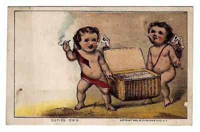 1880 Currier & Ives Cupid's Own Smoking Cherubs Victorian Trade Card