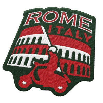 Rome Italy Iron On Travel Patch - Vespa and Colosseum