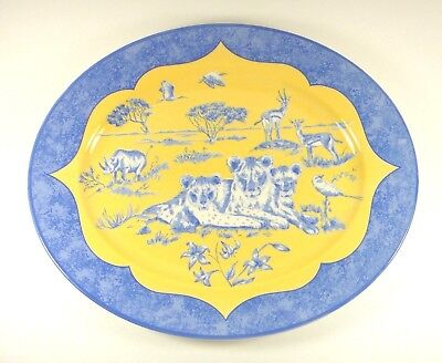 New Lynn Chase African Inspirations Blue & Yellow Oval Platter Made In England