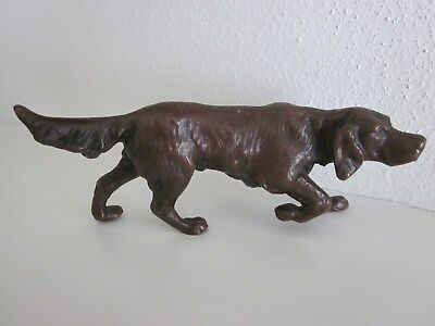Antique BRONZE Jennings Brothers JB 2893 Male Setter Dog Sculpture Statue 4.75''