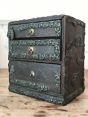 19C Japanese antique miniature oak SHAKUDO KODANSU cabinet box bronze Shibayama