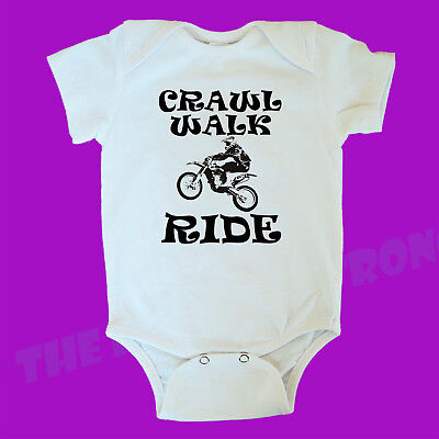 Crawl Walk Ride. Motorcycle. One Piece. Baby Romper. Cool. Gift. Dirt Bike.