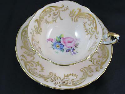 Paragon Pretty in Pink & Gold Floral Bouquet Cabinet Teacup Tea Cup & Saucer