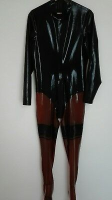Latex Catsuit mit Strumpfoptik Schwarz Transparent Medium/Large