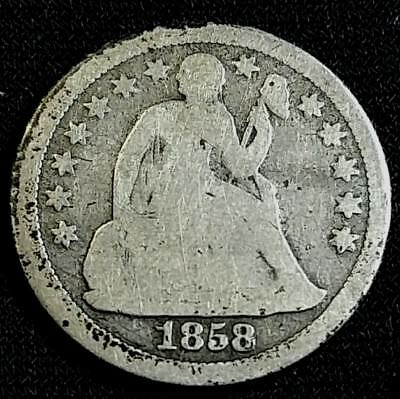 1858 10 Cent Liberty Seated Dime US Silver Coin **