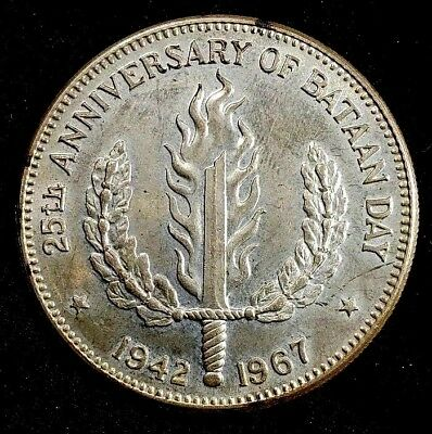 1967 BU One Peso Philippines 25th Anniversary of Bataan Day 90% Silver Coin**