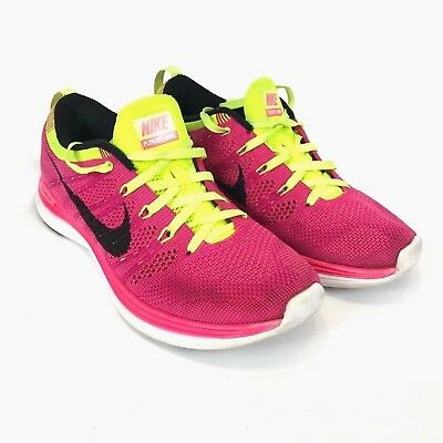 cheaper d8406 e5c91 Nike Women Running Shoes Flyknit One Lunarlon Pink Yellow Size 7 554888-606