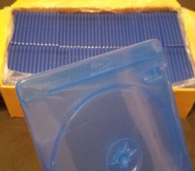 Lot of 100 NEW 2 Disc Empty Blue/Clear Authentic Logo Blu-ray Replacement Cases