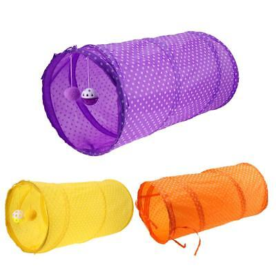 Funny Toys Foldable Dot Tent Training Pet Play House Cat Tunnel w/ Hanging Ball