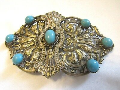 Antique Victorian Turqouise Glass 800 Silver Filigree Belt Buckle