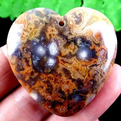 E7.33476 Heart Yellow Crazy Lace Agate Pendant Bead 45*7mm
