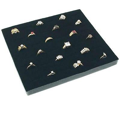 36 Slot Storage Glass Top Ring Display With Velvet Insert Liner Ring Organizer