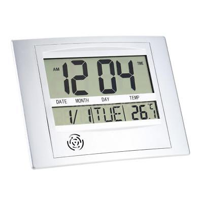 Electronic Temperature Meter Digital Calendar Wall Alarm Clock Thermometer B4Q3