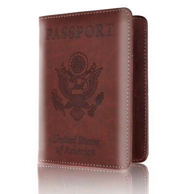 RFID Blocking Passport Holder PU Leather Case Cover Travel Wallet Holds Colors