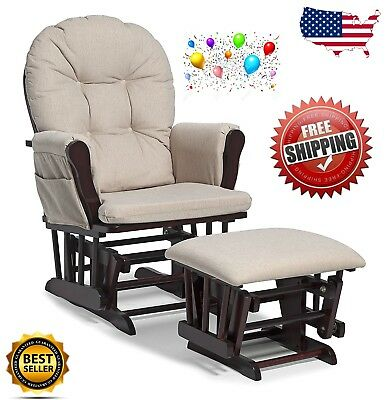 Office Glider Chair Foot Rest Cherry Wood Beige Soft Baby Rocking Rest Nursing