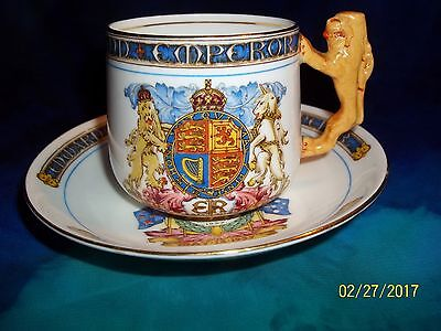 1937 Paragon China Coronation  King Edward VIII Brown Lion Handle Cup & Saucer