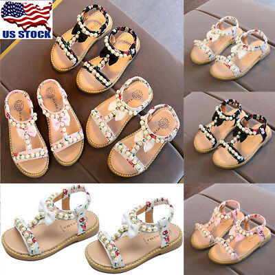 US Kids Girl T-straps Bow Pearl Flat Ankle Sandals Shoes Casual Party Size 7-11