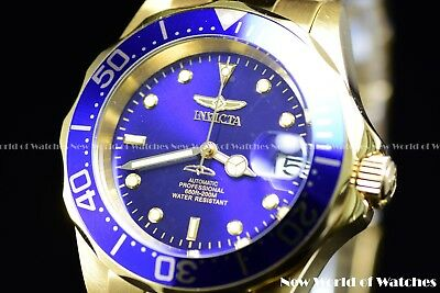 Invicta Men's 40mm Pro Diver Automatic Blue Dial 23K Gold Plated SS Watch 8930