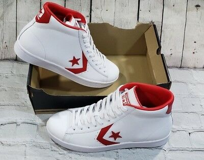 Converse Pro Leather 76 Mid 157426C White Casino Red Mens Shoes Size 10 M  11.5 W ec015d851