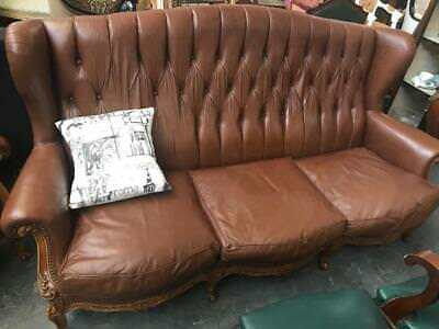 Vintage French Louis Wingback 3 Seater Chesterfield Brown Leather Lounge / Sofa