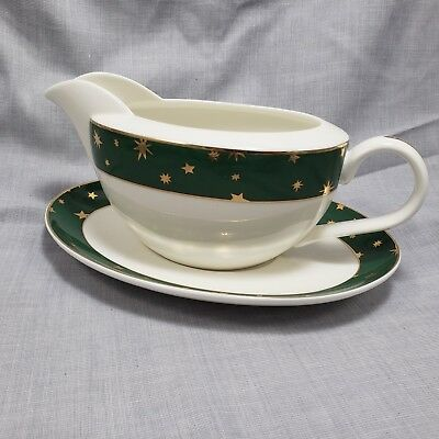 NIB Galaxy Holiday Dinnerware Gravy Boat Green Gold Stars 14k gold Xmas Table