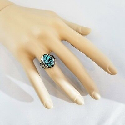 Antique Chinese Export Turquoise Silver Filigree Adjustable Size Ring