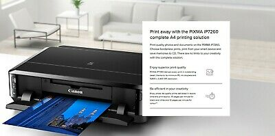 Canon Pixma IP7260 Printer CD DVD Duplex Inkjet Printer NO STARTER INK