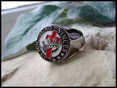 Knights Templar Cross Crown Christianity Steel Silver Degree Mason Ring