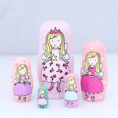 5Layers Princess Russian Nesting Dolls Wooden Matryoshka Doll Girl Toy Kid Gift