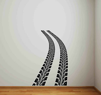 Tire Track Wall Decal Road Race Car Bed Vinyl Sticker Racing Decor Kids Art 664 & RACE TRACK ROAD Wall Stickers Removable Decals Matchbox Car Set ...
