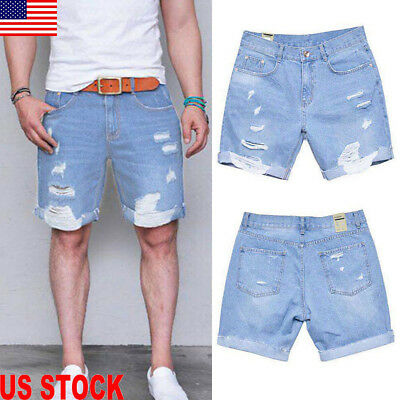 US Mens Stretchy Ripped Destroyed Frayed Taped Denim Pants Shorts Jeans Trousers